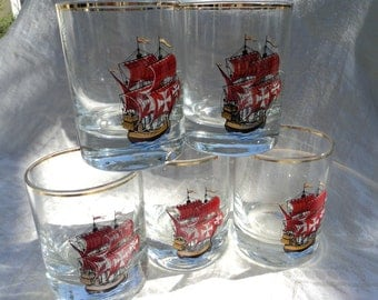 Spanish Armada ships barware glass tumblers pirate ship red flag