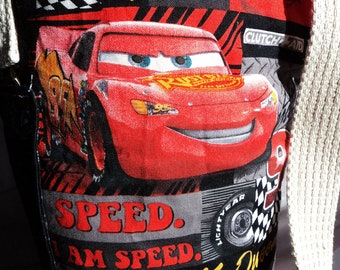 Water bottle carrier tote cars disney black red racing cotton fabric