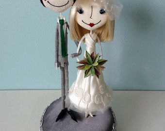 Beautiful and Whimsical Handcrafted Custom Wedding Cake Toppers with Free Shipping