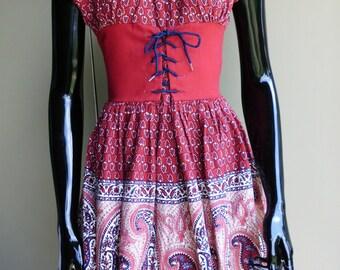 Vintage 1950 60s Peasant Corset Dress  Mini Dress  Babydoll  Renaissance  Hippy  Hippie  Boho