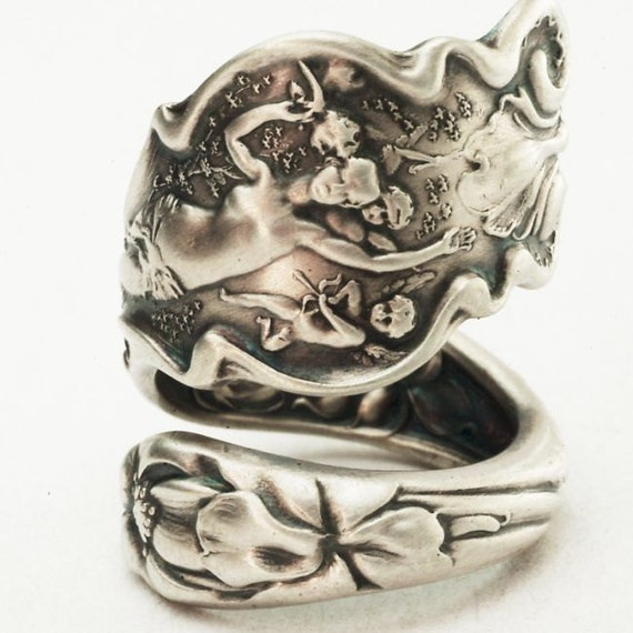 Unique Art Nouveau Cupid Irian Sterling Silver Spoon Ring, Handcrafted in Your Size (A018h)