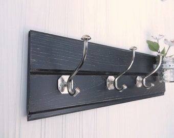Tongue and Groove Coat Hanger with Nickel Hooks and Jar Shabby Chic / French Country- Pictured in Black