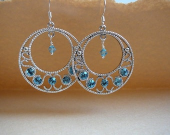 Silver gypsy hoop earrings with Aquamarine Swarovski crystals - March birthstone - Free shipping to CANADA and USA
