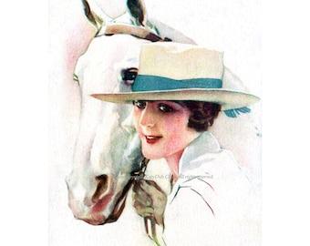 Horse Woman Card - Girl Holds White Horse - Vintage Terzi Image