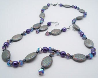 Purple and Grey Czech Glass Necklace and Earrings