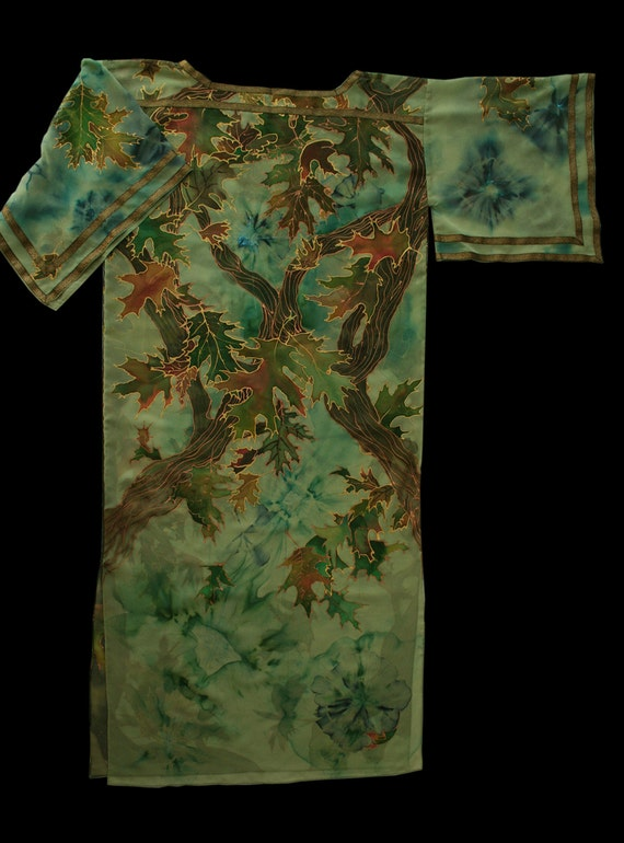 The Hobbit Premiere, Eryn Galen Greenwood the Great, GREEN ELVEN Dress - hand painted, L  size Elven clothing Fantasy costume