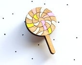 Wooden Laser Cut Lollipop Brooch