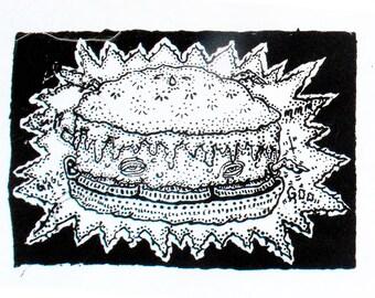 Cheeseburger Screenprint Art Patch