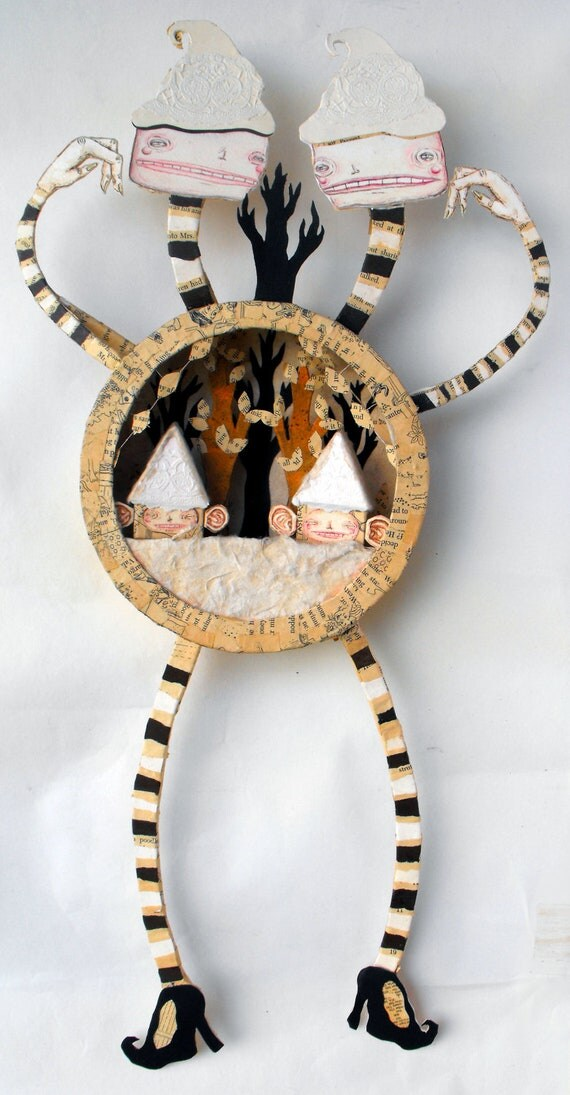 Siamese Twin Witch - Paper Sculpture - Shadow Box - Shadow Puppet - Fine Art Diorama