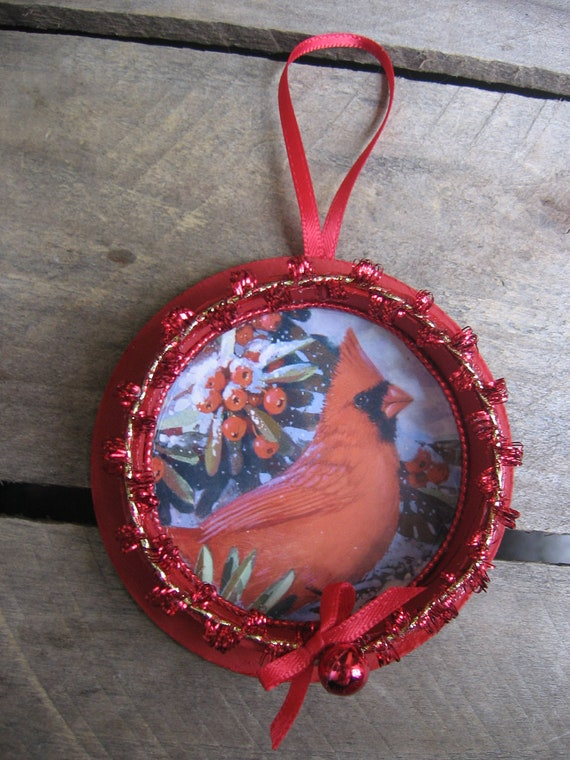 Cardinal Upcycled Christmas Card and Ribbon Spool Ornament Red Cardinal Ornament