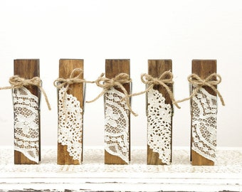 Wood Clothespins Table Number Holders with Vintage Style Lace & Twine - Set of 5 - Wedding Reception Details - Memo Clip - Menu Card Holder