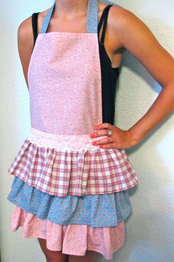 Apron 3 Tiered Ruffled Full Apron Country Blue Pink Plaid Floral