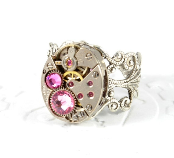 OCTOBER Steampunk Ring Steam Punk Ring Steampunk Watch Ring Silver Tourmaline Pink Victorian Steampunk Jewelry By Victorian Curiosities