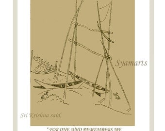 Ink line drawing, Bhagavad gita verse, minimalist, village India, fishermans net, travel art, rural scene, riverside