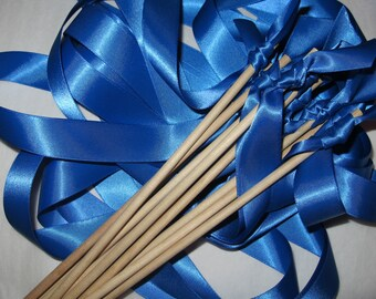 Tie the Knot - Satin Wedding Ribbon Wands - Custom Colors - Pack of 50 - Shown in ROYAL BLUE