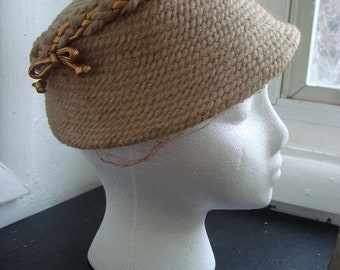 Light Tan Finely Woven Ladies' Hat With Gold Braided Trim and Veil