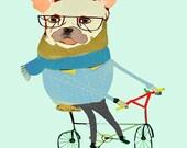 Digital Illustration, kids print, Art print from original drawing. ''French Bulldog Biker''.