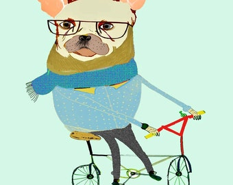 Digital Illustration, kids print, Art print from original drawing. ''French Bulldog Biker''.