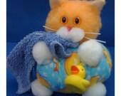 Sudsley Ducksworth III - Bathtime Kitty Whimsicat Purrsonality - Fiber Art Collectible 64