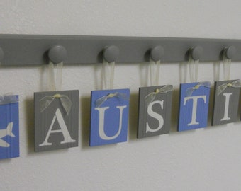 Airplane Nursery Name - AUSTIN includes 8 Grey Wooden Pegs - Gray and Light Blue Baby Boy Nursery Decor