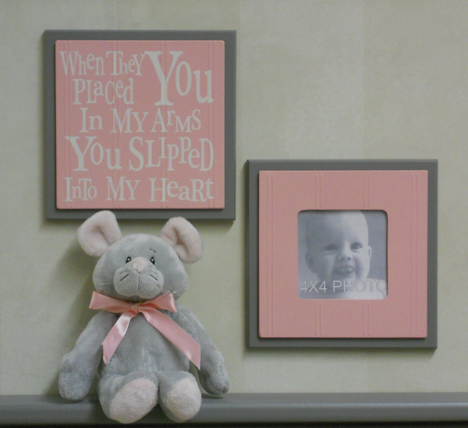 Gray And Pink Baby Nursery Wall Decor Set Of 2 Photo Frame