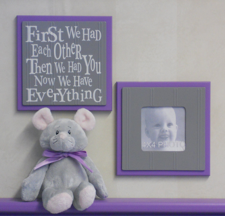 Purple Gray Nursery Lilac Wall Art