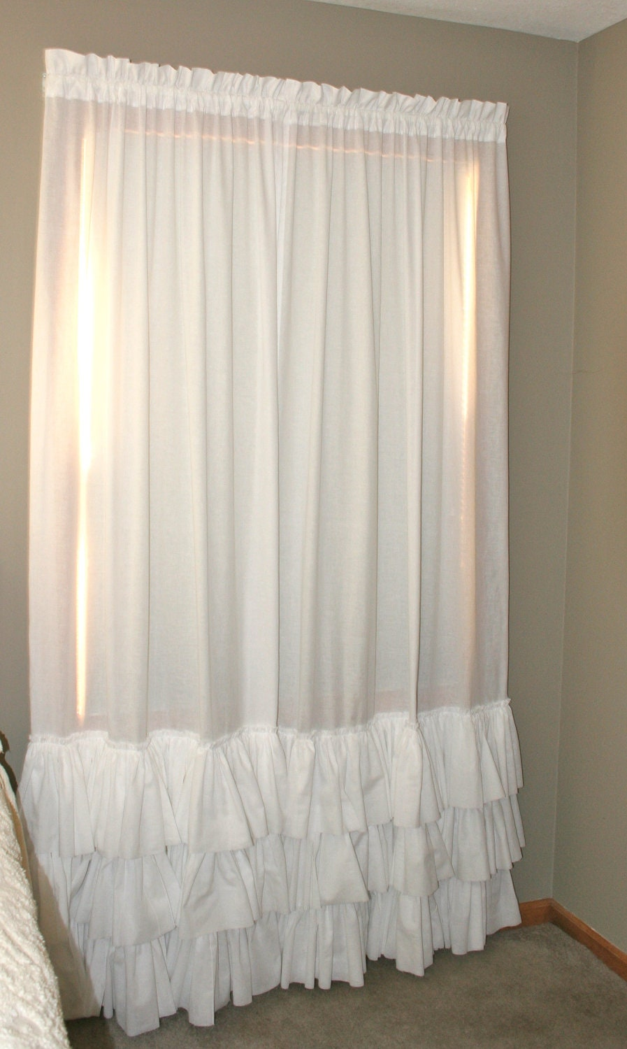 Ready to ship now 3 ruffle curtain shabby chic by Shabby chic curtain window