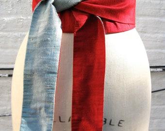 Red & Aqua Reversible Silk Shantung Obi Sash