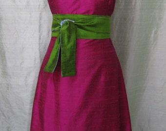 Magenta V-neck Silk Shantung Cocktail Dress, Size X-Small (4)