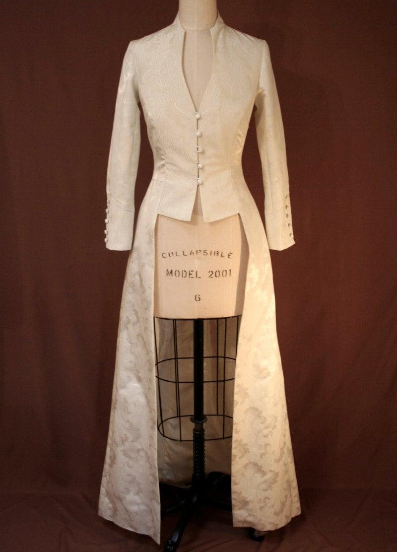 Ivory Damask Long Fitted Edwardian Wedding Coat