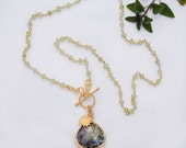 Lariat Necklace - Labradorite Necklace - Wire wrapped Peridot and Sunflower Charm Necklace - August Birthstone