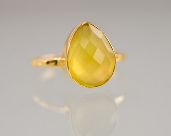 Yellow Chalcedony Ring - Gemstone Ring - Stacking Ring - Gold Ring - Tear Drop Ring
