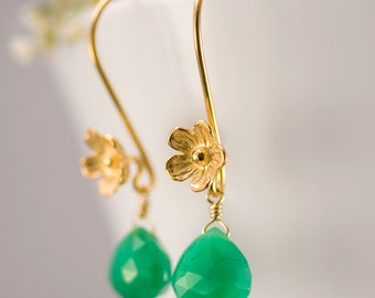 Chrysoprase Drop Earrings - Gold Earrings - Flower Earrings