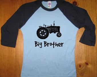 Big Brother Shirt - Big Brother T Shirt Boys Shirt - Raglan Tee Shirt - Tractor Shirt - Sizes 2T, 4T, 6,  - Gift Friendly