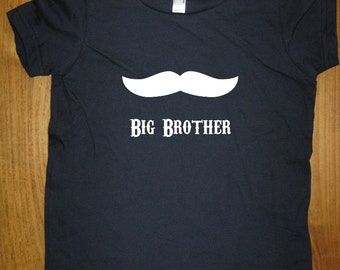 Big Brother Shirt - 6 Colors Available - Kids Big Brother Mustache T shirt Sizes 2T, 4T, 6, 8, 10, 12 - Gift Friendly