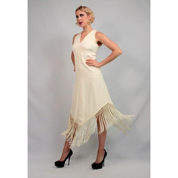 Ivory fringe go-go dress. 1970's does 20's flapper dress. 1970's Gypsy dress.