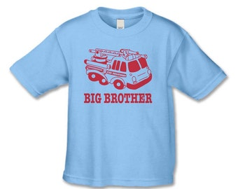 Big Brother Shirt - Fire Engine Big Brother T-Shirt   (Red Ink ) Pregnancy Announcement Shirt