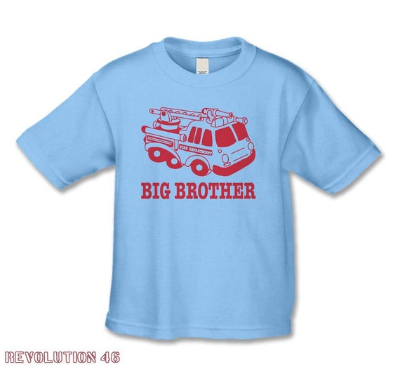 Big Brother Shirt - Fire Engine Big Brother TShirt - Create Your Own Matching Sibling or Father Baby Tee Set - Pregnancy Announcement Shirt