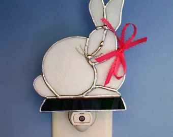 Night Light Stained Glass White Bunny Rabbit