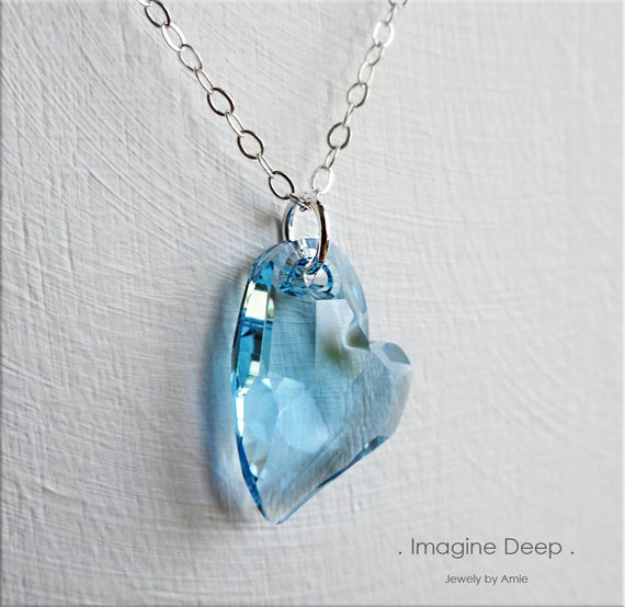 RESERVED - 18 inch Sterling Silver Heart Crystal - Light Blue Topaz Faceted Swarovski Crystal - High Quality Sparkle and Shine