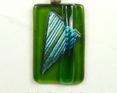 Green & Turquoise Pendant With Fused Dichroic Glass