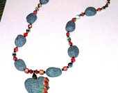 Stone Heart Necklace with Handcrafted Pendant & Beads, Hand Made in the USA