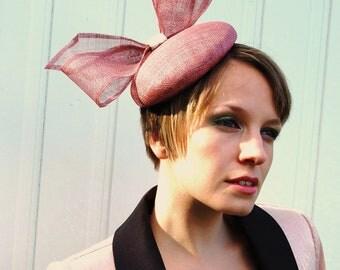 Cocktail hat Blushing Rose Quartz Bow pink statement hat