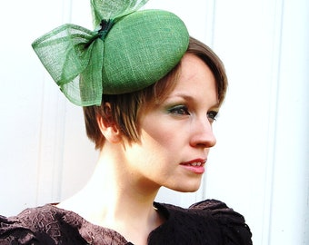 Cocktail hat Sage Green Sinamey Bow green statement fascinator