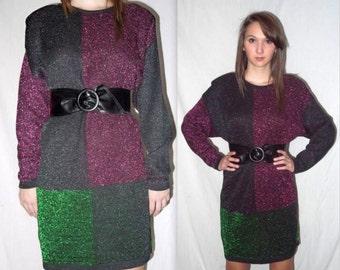 Glamarama .. Vintage 80s sweater mini dress / 1980s knit tunic / metallic color block / boxy oversize slouchy .. M L