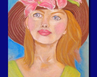 Woman Portrait. Where Are You ?.Print Of Original Soft Pastels Painting.Figurative . Wall Decor Art .