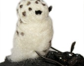 snowy owl christmas tree ornament, hand needle felted by Westlake Designs