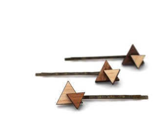 Triangle Hair Pin Set - Laser Cut Wooden Layered Triangle Bobby Pin Set of (2)