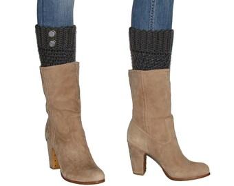 Crochet Charcoal Gray Boot Cuffs With Gray Antique Brass Buttons, Dark Grey Leg Warmer Boot Socks, Handmade Warm Winter Fashion Accessories
