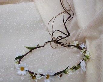 Woodland Rustic Flower Crown Daisy Headwreath made in Michigan wedding hair wreath accessories bridal headpiece silk floral halo shabby chic